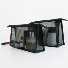 Women Storage Transparent Organizer Cosmetic Portable Travel Makeup Bag Mesh Washing Nylon Toothbrush Pouch