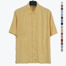 8 renk 100% ipek erkek gömleği abd boyutu düz renk çiçek erkekler rahat gömlek kampı kısa kollu turn aşağı yaka artı büyük yaz