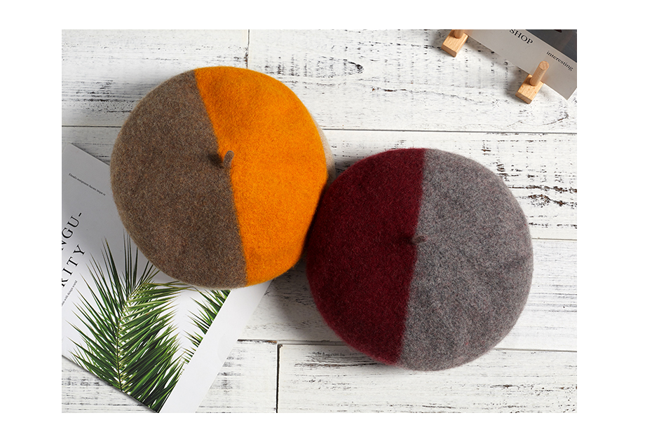 Wool Beret Female Winter Hats For Women 2018 Flat Cap Knit 100% Cashmere Hats Lady Two-Tone Girl Berets Hat Female Painter Hat (4)
