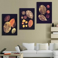 3 Pieces Wall Art Canvas Prints Gold Leaf Picture Modern Wall Painting On Wall Still Life Painting For Living Room No Framed