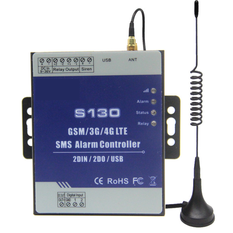 gsm 3g 4g rtu sms remote controller alarm system 2 din 2 do iot controller for automation monitoring system s130 GSM 3G 4G SMS Remote Controller Alarm System 2 DIN 2 DO RTU Controller for Automation monitoring System