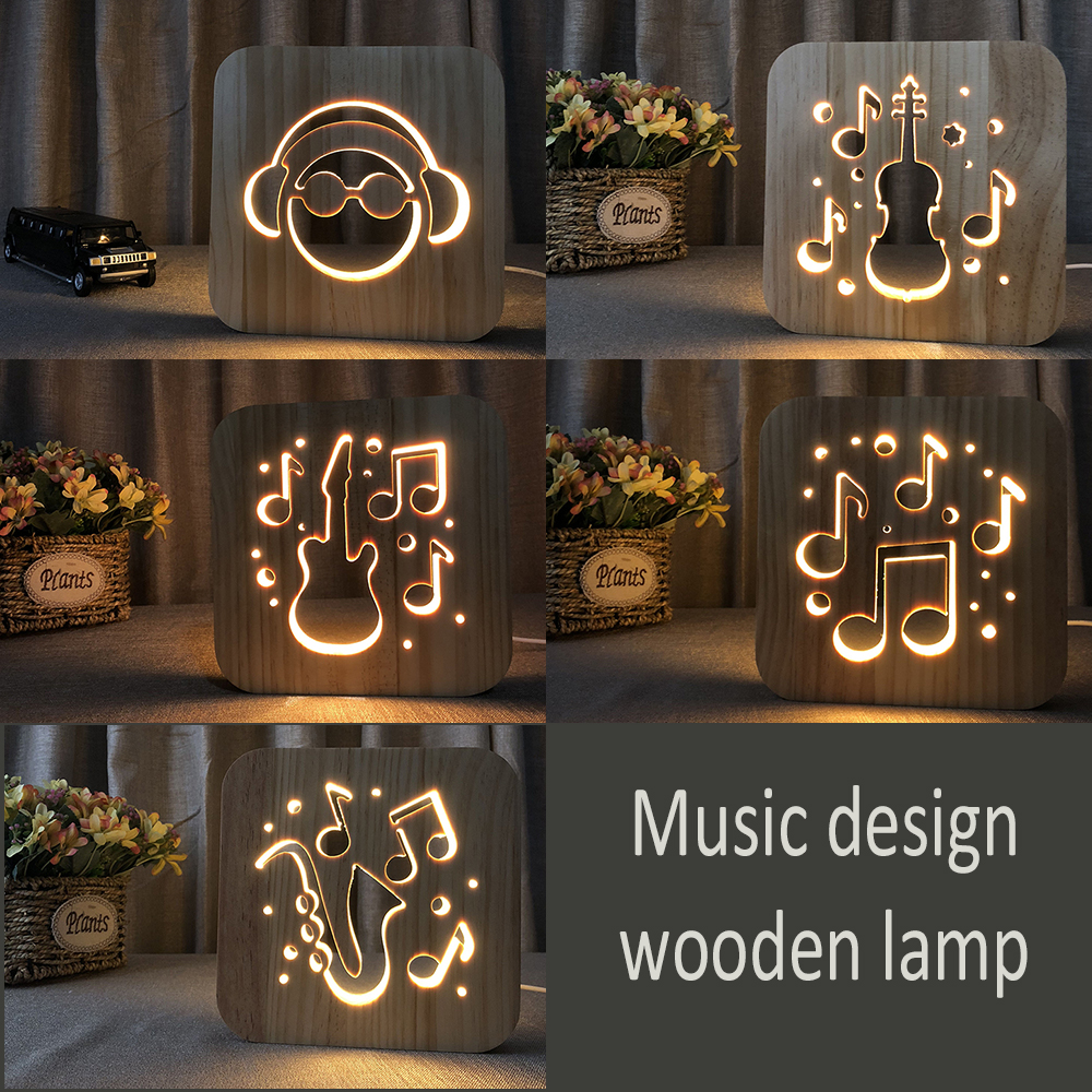 LED Night Lights Guitar Saxophone violin music note 3D Lamp USB Power Wooden Carving Table Lamp Decorative Lamps for Living Room niko music book note paper music staff musician song writer artist for piano guitar violin viola cello teacher school supplies
