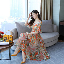 Summer Fashion Women Floral Slim Printed Long Type Short Sleeve Bohemian Wind Beach Style Chiffon Dress