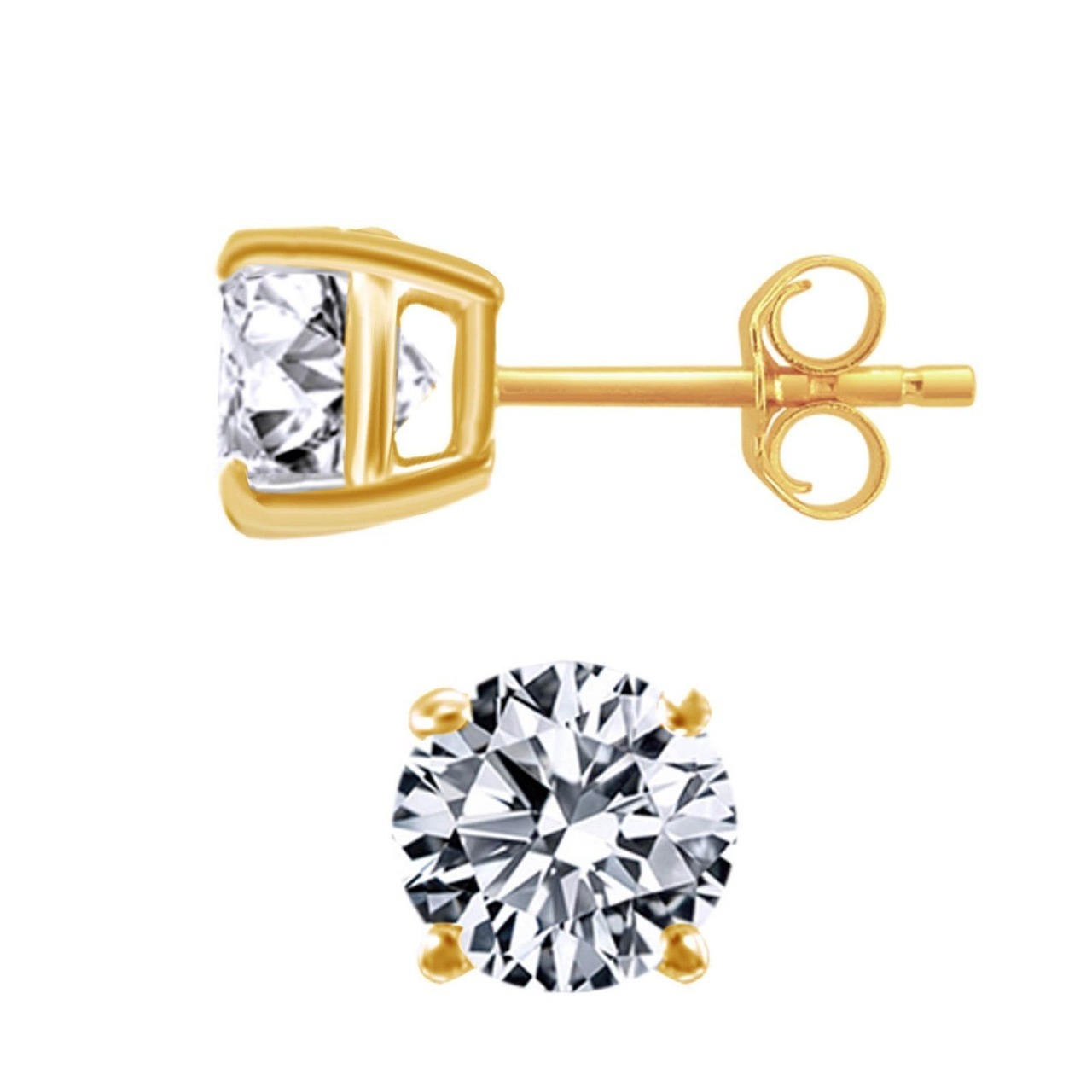 Round CZ Stud Earrings - 14k Yellow Gold Plated Sterling Silver 925 - 7mm pair of zircon gold plated stud earrings