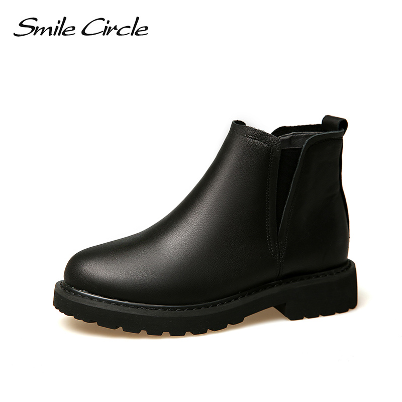 Smile Circle Chelsea Slip-on Ankle Boots Women Genuine Leather Short Boots Autumn Winter 2018 Martin boots women Platform Shoes