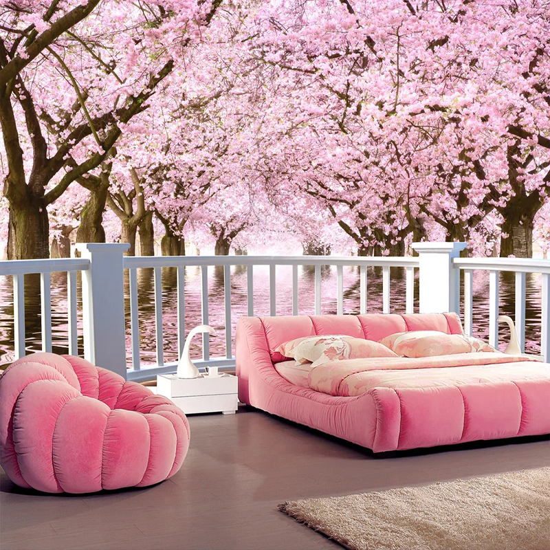 Custom Waterproof Self-adhesive Mural Sticker Cherry Blossom Tree Balcony 3D Landscape Photo Wall Paper For Living Room Bedroom