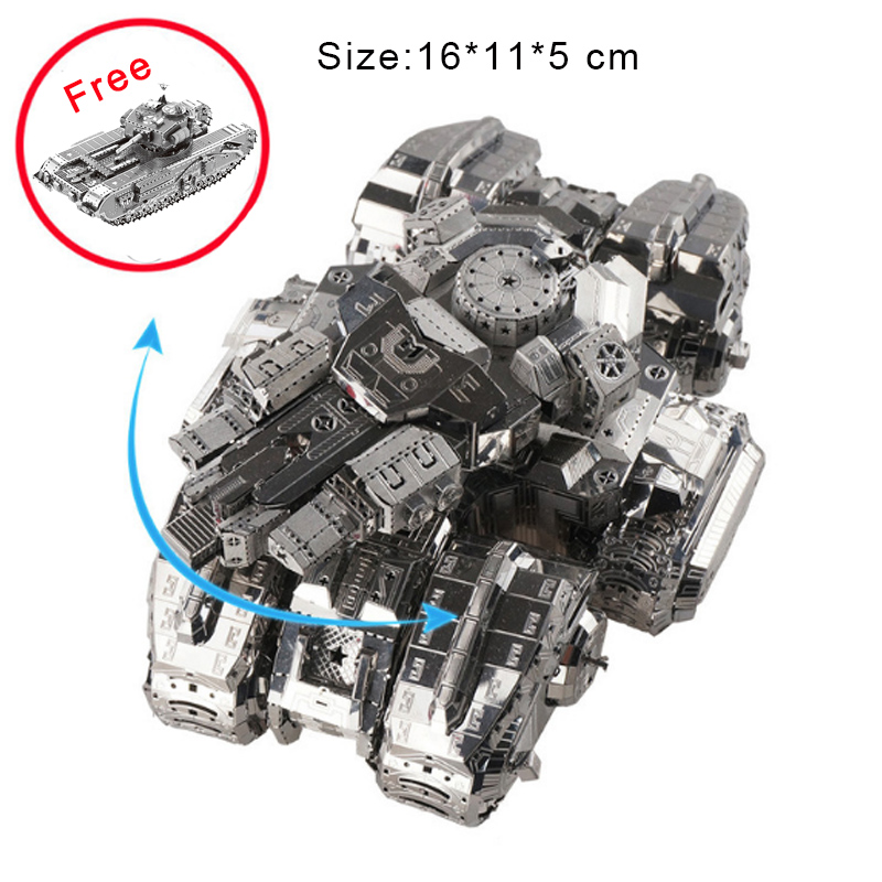 Metal Puzzle 3D Model For Adult Children Silver Star Tank Nano Manual Jigsaw Kids Birthday Gifts Collectional Educational Toys star war 3d metal puzzle first order special forces tie fighter silver puzzles jigsaw model adult child kids educational toy