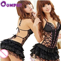 Oomph! Hot Sexy Neck Hang Lace Sleepwear Lingerie Backless Teddies Black underwear nightdress Party Costume sex toy for woman