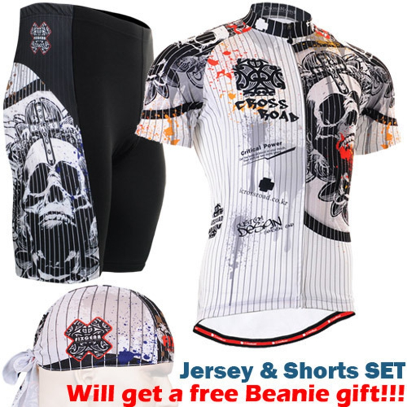 цена на Brand 2017 New Summer Cycling Jersey set Maillot Ropa Ciclismo Bicycle Clothing Skull MTB Bike Uniform With Cycling Shorts