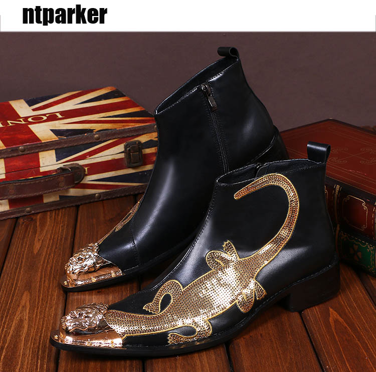 8e5dc3123c12 ntparker Luxury Men's Black Leather Shoes Rivets Pointed Toe Ankle Boot Shoes  Brand Designer's Club/