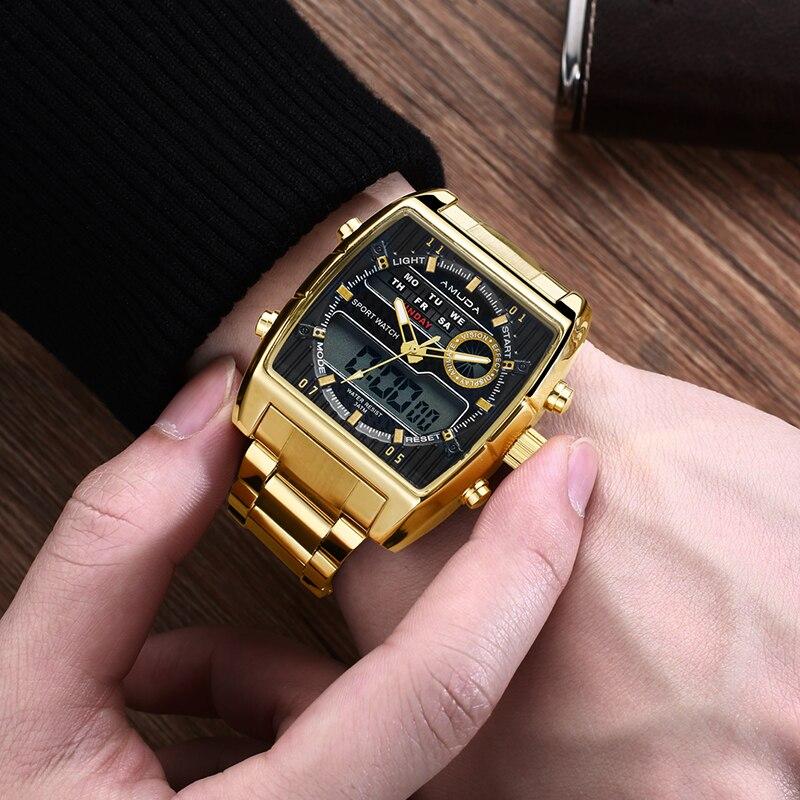 Golden Sports Waterproof Stainless Steel Digital Wristwatches Clock