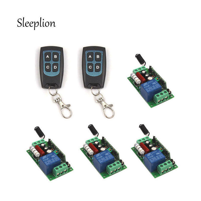 Sleeplion US AC 110V 10A 1CH Channel Relay Wireless Remote Switch 2 4-key Waterproof Control Transmitter +4 Receiver us ab relay 700 hnc44az48 0 1s 10min dc48v