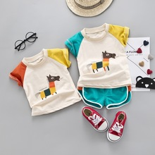 цена на Summer Infant Baby Boys Clothing Sets Cotton Cartoon T-shirt Tops + Pants 2Pcs Kids Clothes Suits Casual Sportswear Clothing Set
