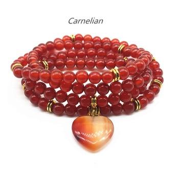 Beadztalk Natural Carnelian Stone Beads Mala Pulseira Elástica Yoga Pulseira 6mm Rodada Bead 72 centímetros Dom Venda Quente da Menina
