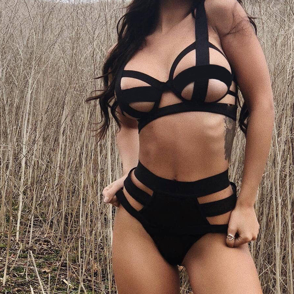 Hollow Out Women Bandage   Bra     Set   Sexy Lingerie G-string Nightwear Underwear Babydoll   Set   Club Erotic Black Solid Plus Size 2019