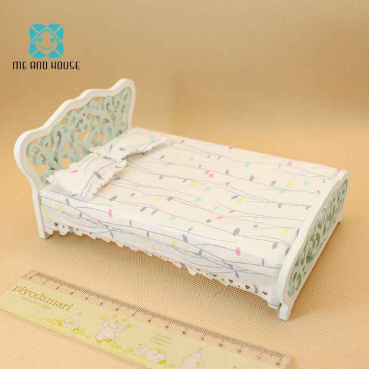 Miniature 1:12 Scale OB 11 Doll House Miniature Wooden Furniture Mini White European Double Bed