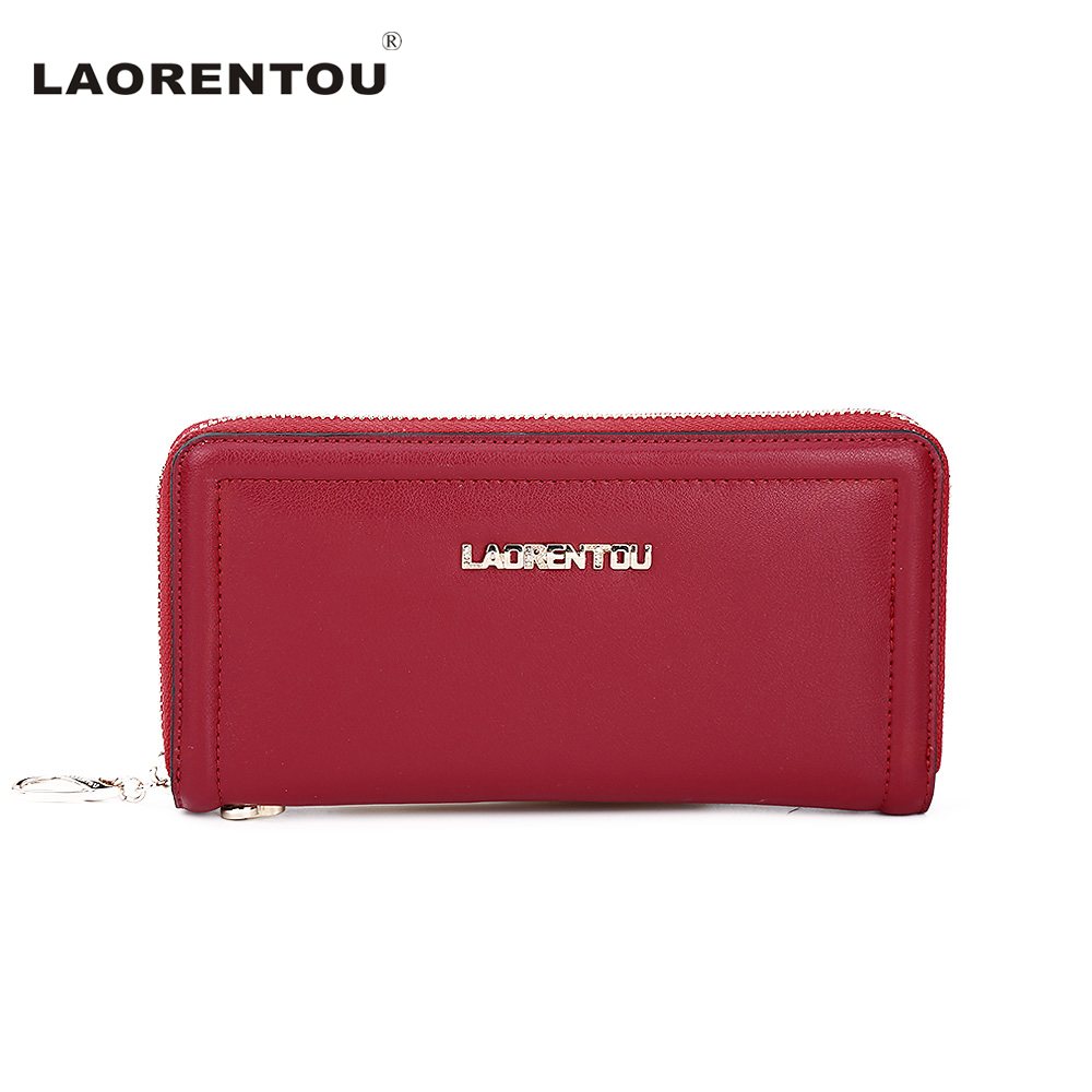 ФОТО LAORENTOU  Cowhide Leather Lady Wallet Cell Phone Card Holder Long Women Wallets Purse Clutch Coin Purses Holders N71