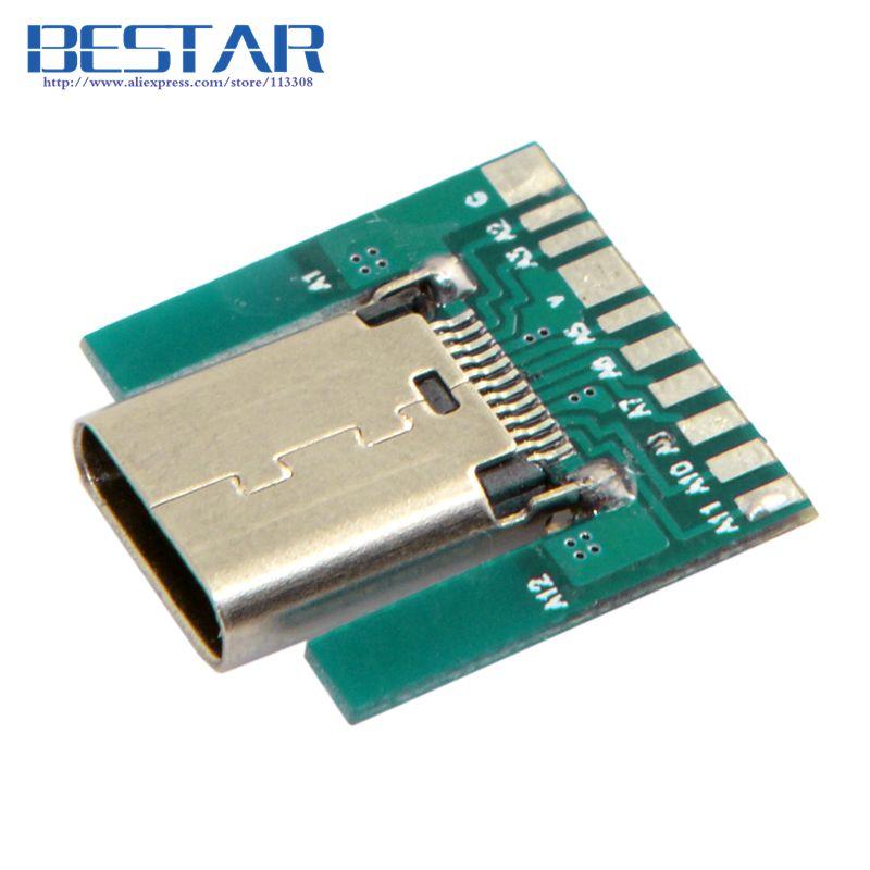 100 шт./лот DIY 24pin USB 3.1 Тип c гнездо разъема SMT Тип с ПК, бесплатная доставка FEDEX UPS DHL