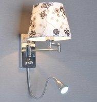 Z pokrętło przełącznika led czytanie kinkiet nowoczesne modne majtki ścienne światło tkaniny lampka nocna rocker arm kinkiet w Lampy ścienne od Lampy i oświetlenie na