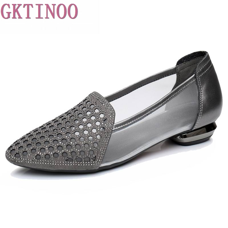 GKTINOO Flats Woman 2018 New Arrival Rhinestone Pointed toe Gauze Women Shoes Genuine Leather Comfortable Flat Shoes Size 34-42