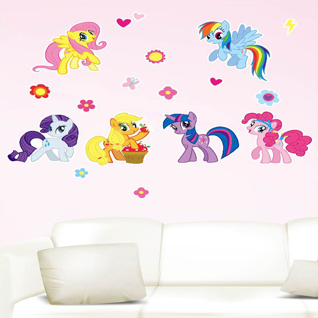 2016 New Wall Sticker Home Decor DIY My Little Pony Wall Decal 6 Ponies  Removable Wall