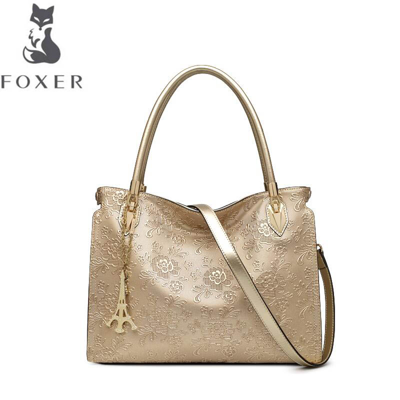 free delivery Cow leather handbag FOXER Women's handbag 2017 autumn new fashion embossed Messenger bag Leather shoulder bag Tote genuine leather bag free delivery women bag ethnic retro embossed handbag originality shoulder messenger bag