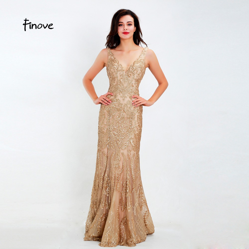 Finove Evening Dress Long 2019 Shining Golden Sequined V Neck Floor Length Reflective Dress Woman Dress