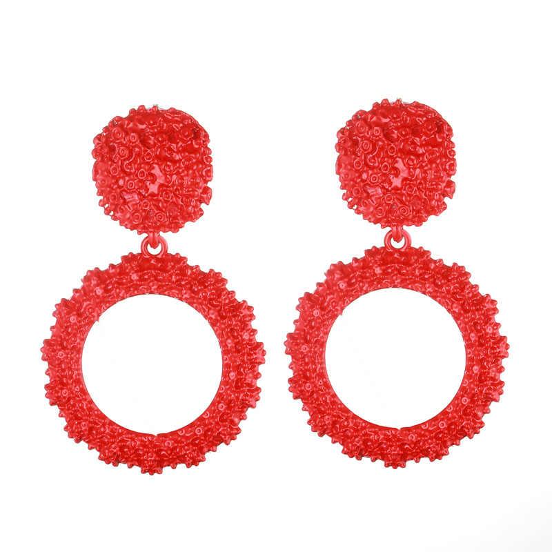 Designer Big earrings for women black round gothic statement earrings 2018 vintage earings  fashion luxury geometric jewelry