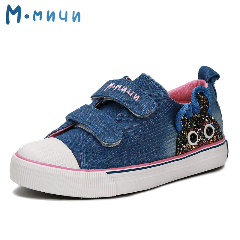 MMNUN 2018 Denim Shoes Girls with Rubbit High Quality Canvas Sneakers for Girls Children Sneakers Breathable Toddler Girl Shoes