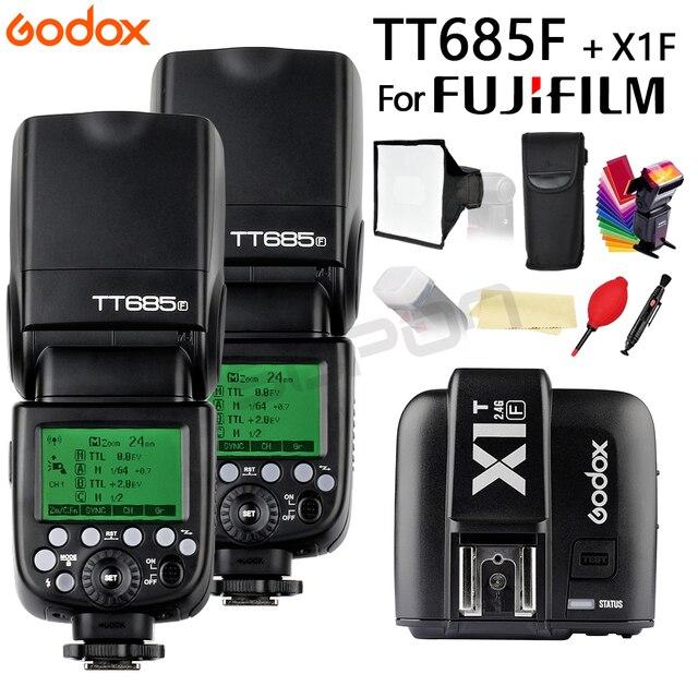 2*Godox TT685F TT685 Flash 2.4G HSS 1/8000 s TTL GN60 Wireless Speedlite + X1T N Transmitter + gift for Fujifilm Fuji Camera