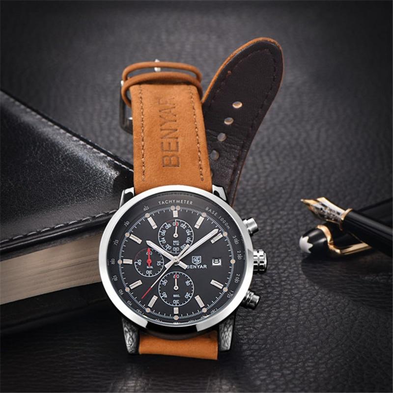 BENYAR แบรนด์กีฬาผู้ชายนาฬิกาแบรนด์หรูชายหนังกันน้ำ Chronograph Quartz นาฬิกาข้อมือทหารนาฬิกาผู้ชาย saat-ใน นาฬิกาควอตซ์ จาก นาฬิกาข้อมือ บน   3