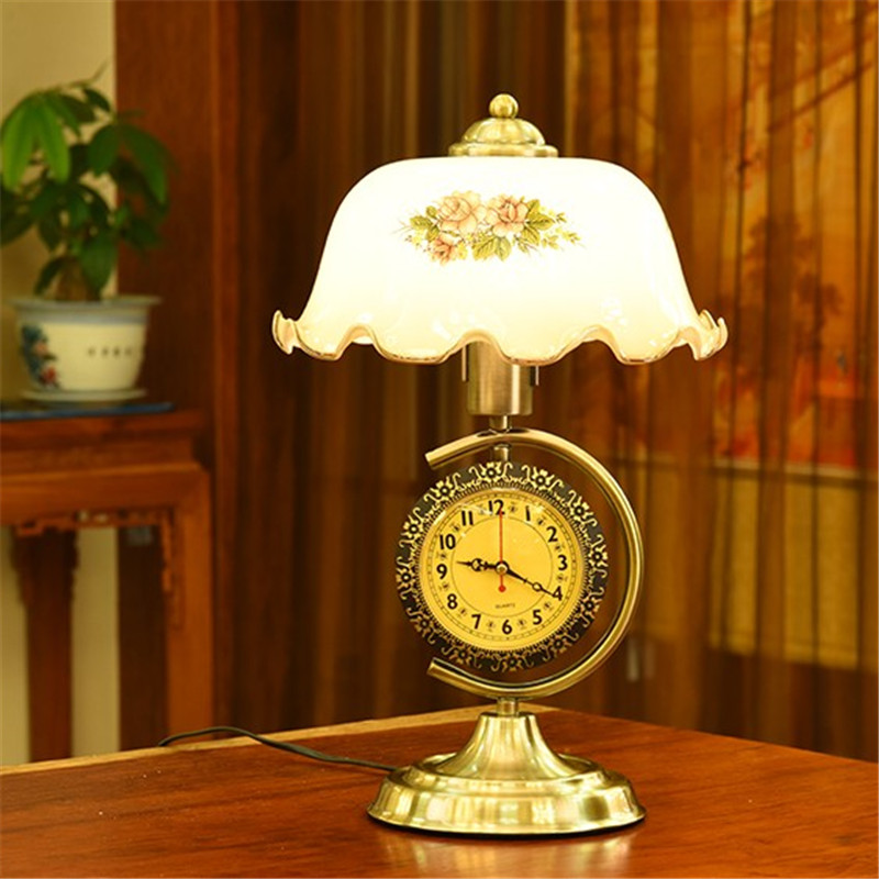 Retro metal base flower glass shade table lamp living room bedroom bedside lamp fashion clock decoration table lamp luminaire 6inch european pastoral retro style table lamp colorful flower pattern lamp shade bedroom living room dining room lights