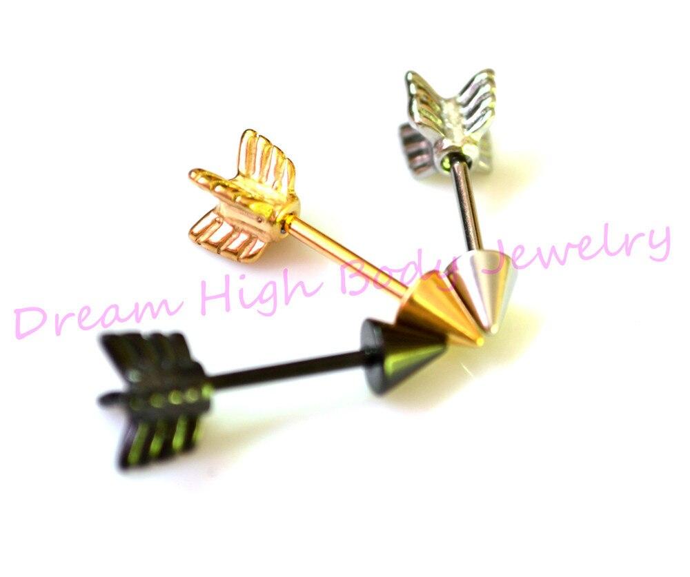 Arrow Stud Earrings Fashion Ear Jewelry Vintage Pinky Earring Women Men Gold Sliver Black Punk Cone Stainless Steel