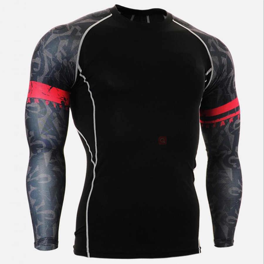 جديد Rashgard رجل الرياضة التي شيرت تشغيل الجوارب الرجال اللياقة البدنية التدريب تراكسويت طويل الأكمام قمصان رياضة رياضة الملابس الجمجمة 3D T قميص