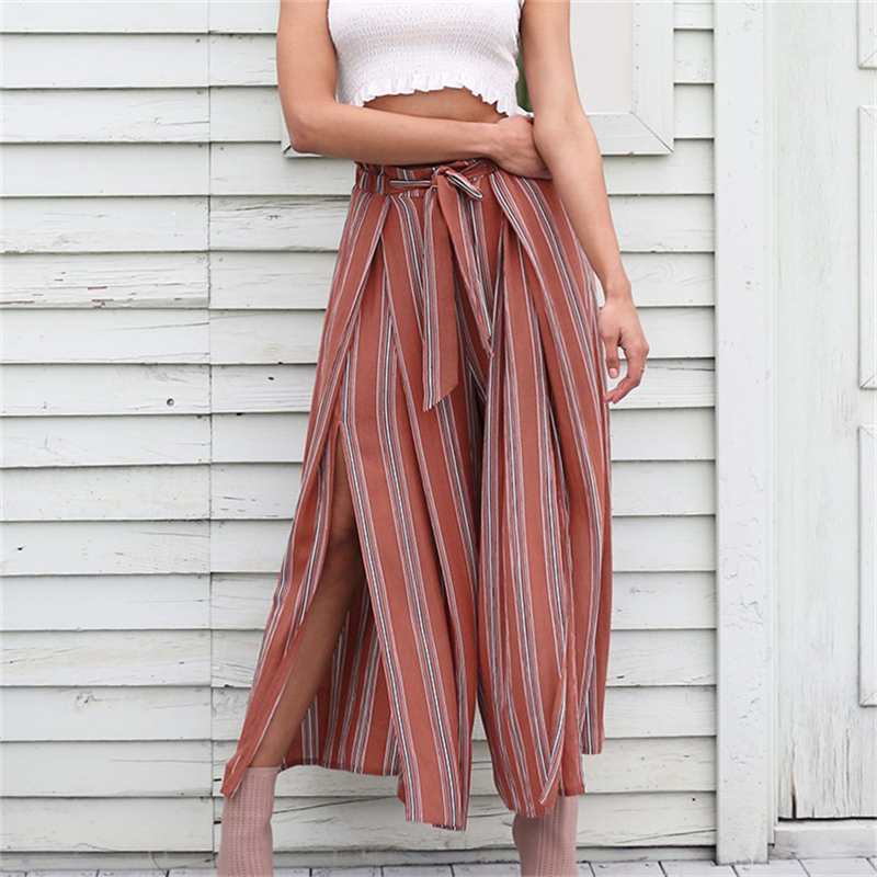 2018 new High split stripe wide leg   pants   women Summer beach high waist trousers Chic streetwear sash casual   pants     capris   female