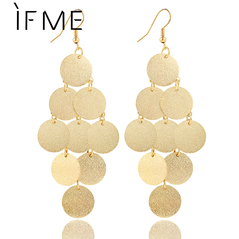 IF ME New Design Fashion Elegant Metal Geometry Round Long Earrings Jewelry Multilayer Alloy Gold Color Earring For women