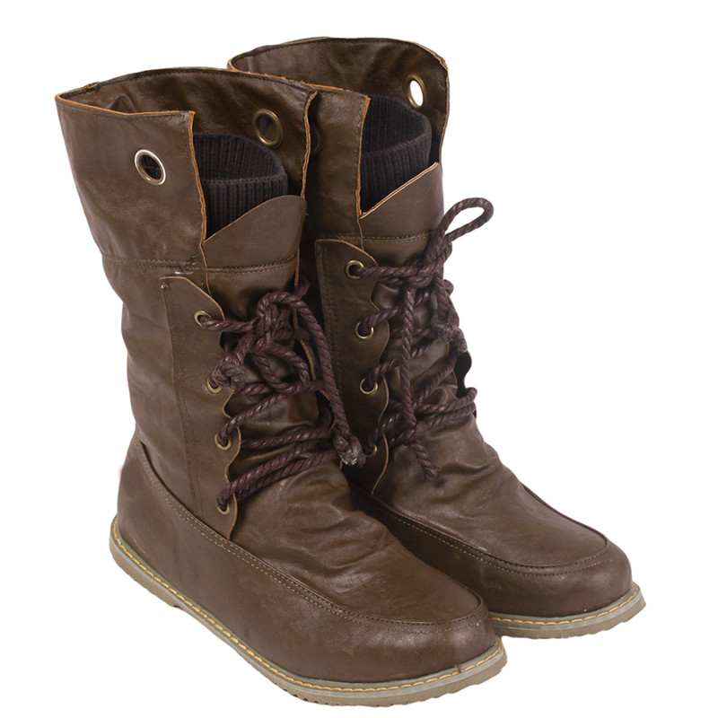 2017  Autumn Winter Women Female Snow Boots Round Toe Lace-Up Solid Brown Warm Leather Flats Motorcycle Martin Shoes OR863003 ms autumn and winter snow boots warm comfortable wholesale women ladies casual shoes lace up martin boots popular dt548