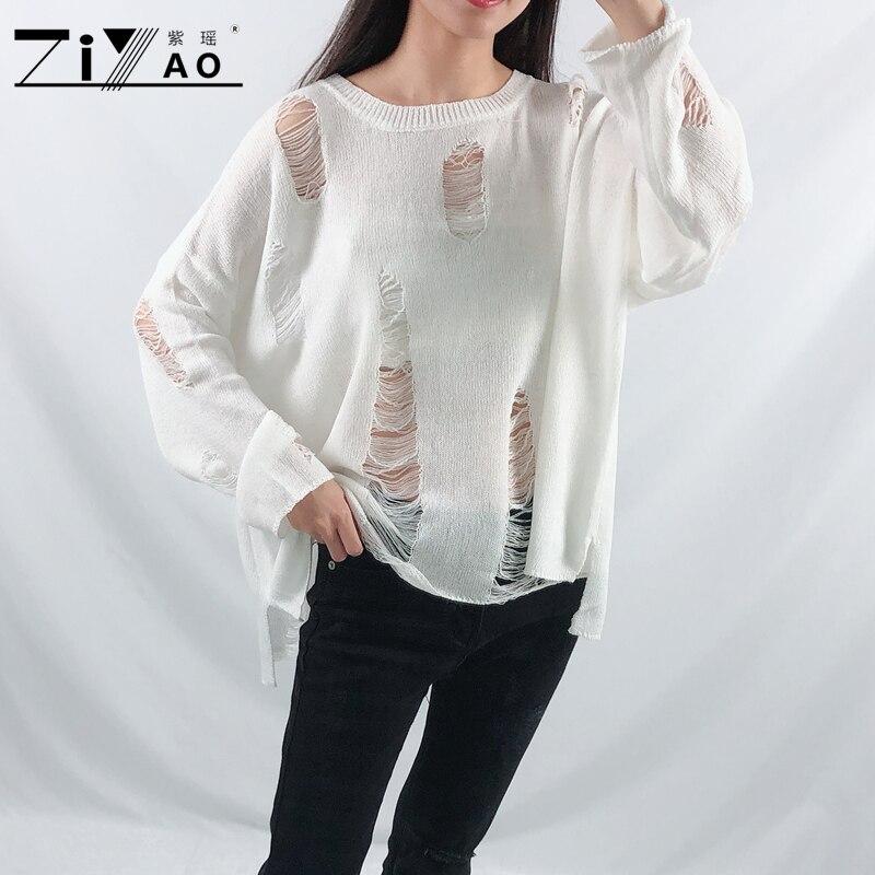 ZIYAO 2019 Loose Linen Hollow Hole Short Pullovers Long Sleeve Casual Knitwear Sweater Spring Autumn Women Girl O-Neck Thin Tops