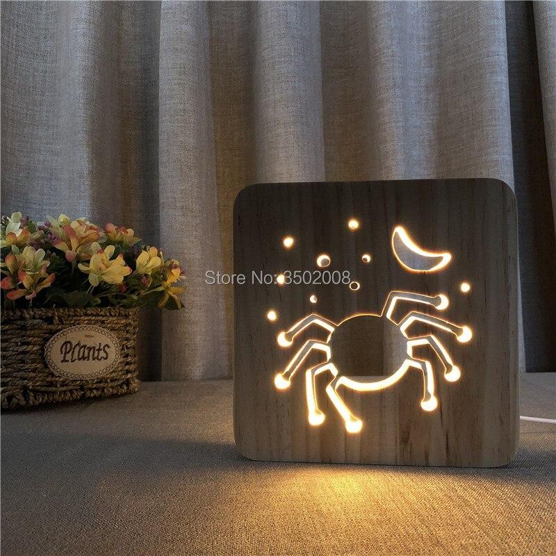 Presente criativo 3D LED Lâmpada 7 Cores Mudando Luz Da Noite Forma de Caranguejo de madeira de madeira Encantador