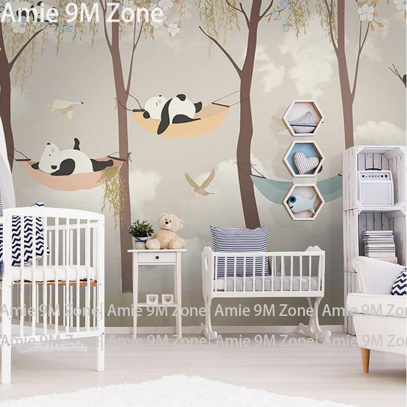 € 15.43 40% de réduction|Tuya art papier peint pour chambre d\'enfant dessin  animé panda jouer jardin pour chambre d\'enfant papier peint mural chambre  ...
