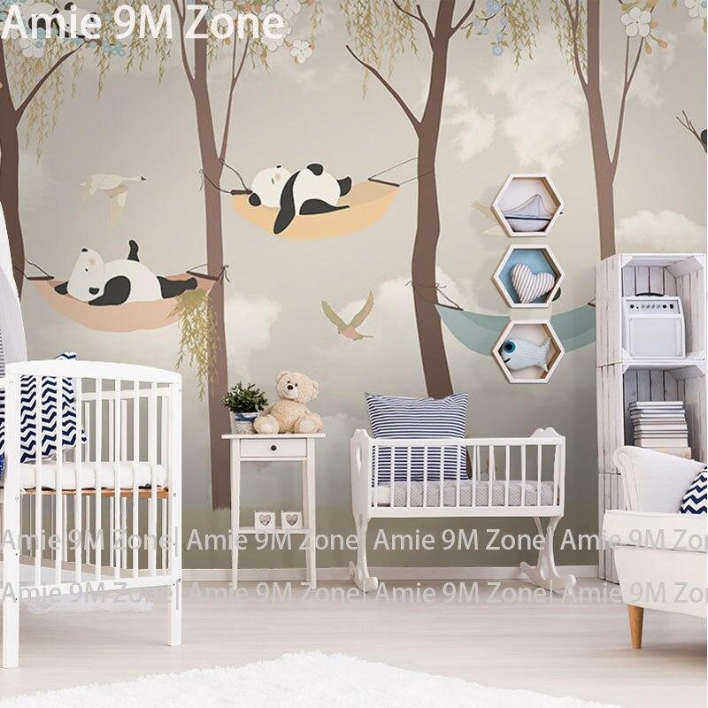 US $16.79 40% OFF|Tuya kunst tapete für kinderzimmer Cartoon panda der  spielen garten für kind kinderzimmer wandbild tapeten baby zimmer wand  decor ...