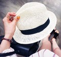 Summer White Straw Fedora Style Women Sun Trilby Beach Caps Jazz Free Shipping SCCDS-047