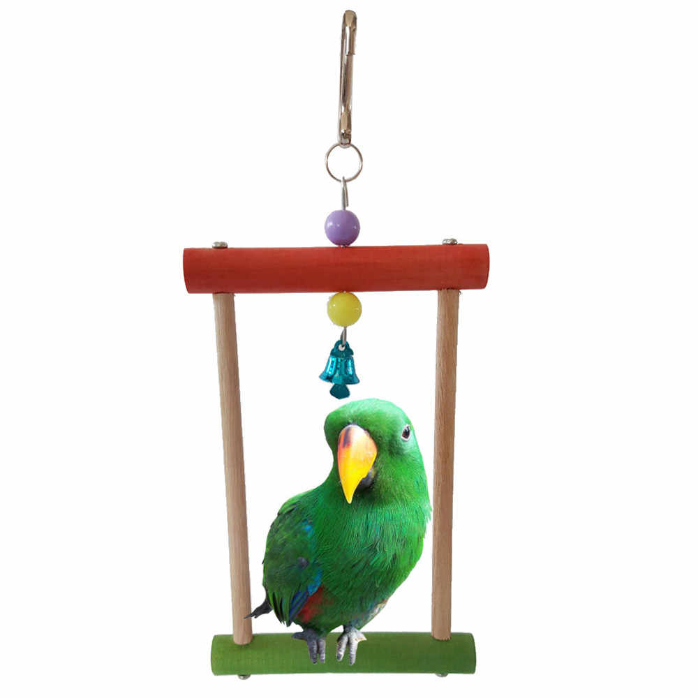 Wood Parrot Stand Bird Standing Toy With Bell Play Toys Claws Grinding Bar Squirrel Funny Chain Swing Toy Pet Bird Supplies