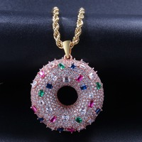Rose Gold Mens Colorful Hip Hop Jewelry Doughnut Necklace Bling Iced Out Full AAA Zirconia Donut Pendant Women Sweet Buns Chains