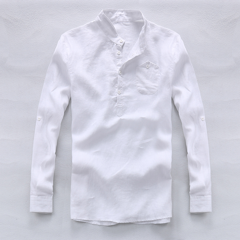 Italia marca camisetas de manga larga hombres Lino puro hombres camisa de  moda casual para hombre de negocios Lino camisas Loose camisa chemise en  Camisas ... 844876e211cdc