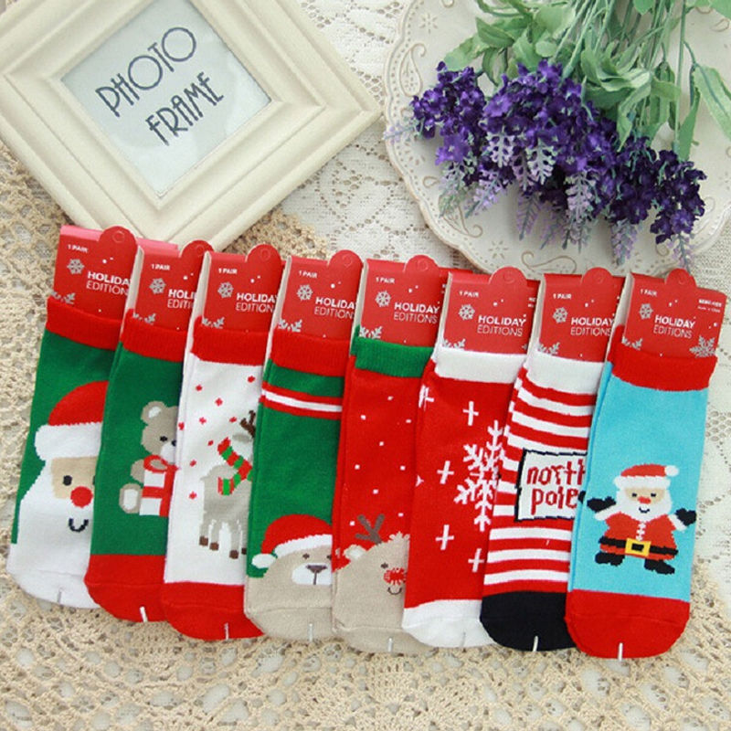 Newborn Baby Boys Girls Cotton Soft Christmas Socks Infant Toddler ...