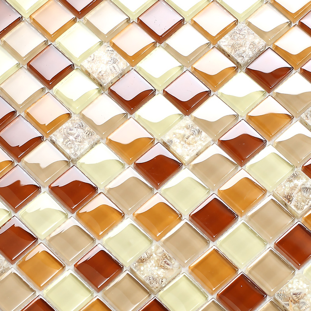 Braun kristallglas gemischt muschel mosaik fliesen EHGM1009F für ...