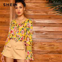 a42e42bb120a5 SHEIN Yellow Lace Bell Sleeve Ruffle Front Floral Top Blouse Women Spring  Summer V-Neck Bohemian Elegant Tops and Blouses