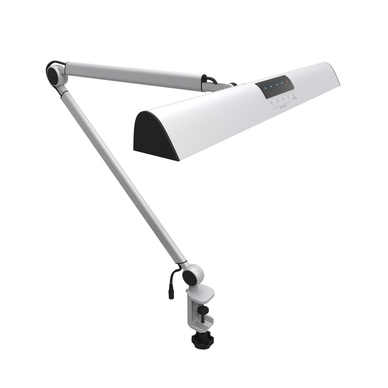 A509 LED Bras Oscillant Architecte Lampe de Bureau Pince, Tactile Lampe de Table pour La Lecture de Travail Argent 2 Modes D'éclairage, 4-niveau Dimmable