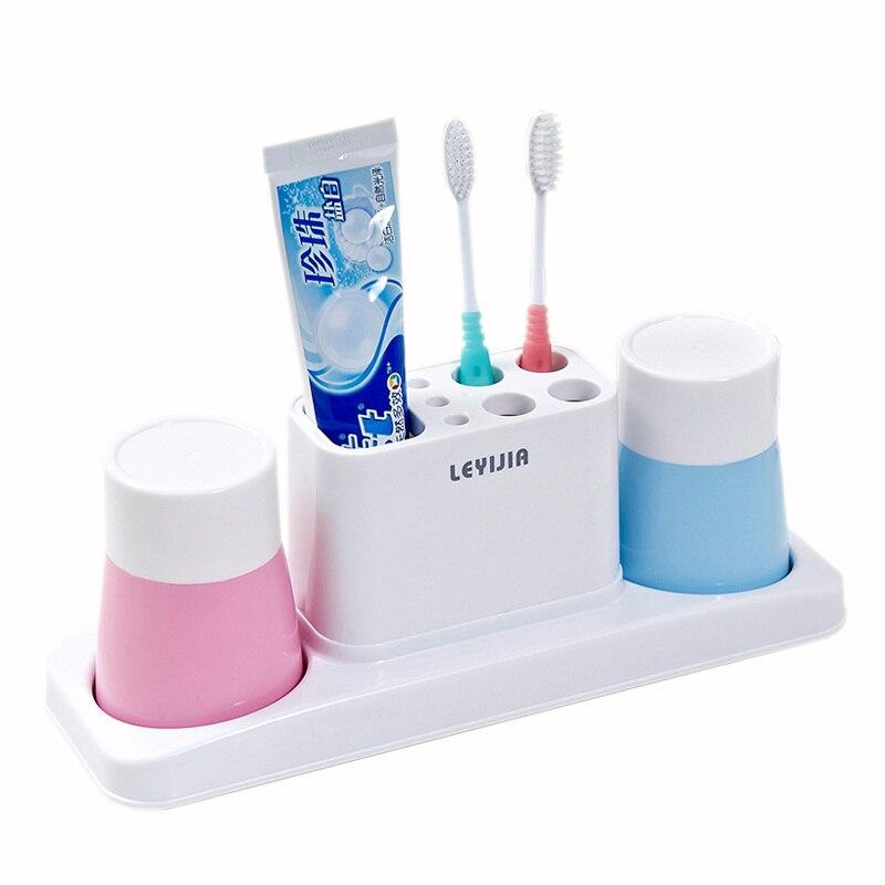 d984e6e6147d5 عالية الجودة 3 قطعة المجموعة مجموعة اكسسوارات الحمام معجون أسنان حامل  بهلوان البلاستيك إمدادات غسل تخزين الرف
